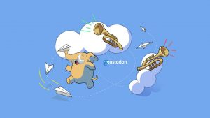 Mastodon logo on wallpaper with Mastodon mascot and trumpets